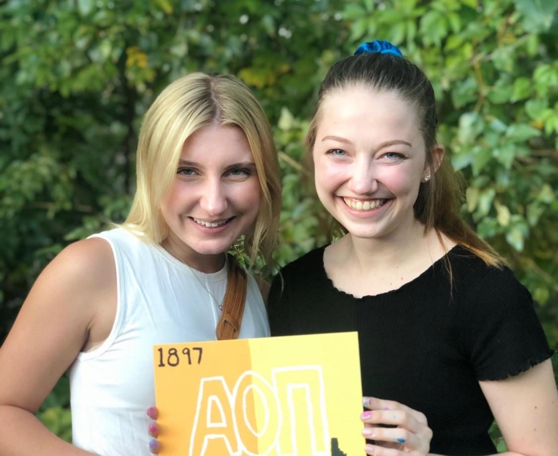 Megan Smith with one of her new sorority sisters. Photo courtesy of Megan Smith.