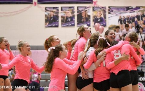 ACP varsity girls volleyball wins the Dig Pink match against ALA Gilbert. Photo taken by Steve Chadwick.