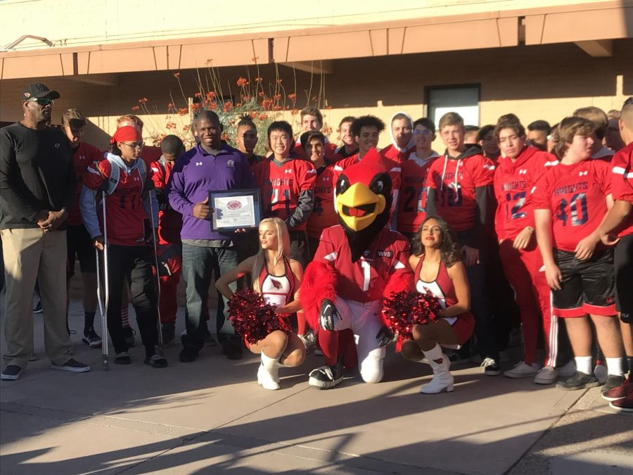 The AZCardinals Visited ACP Erie and Presented Coach Blue With a Special Award