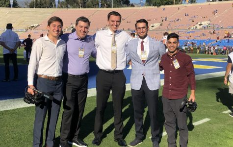Trevor Booth (in the middle) with his friends at the Rose Bowl Stadium. Photo by Trevor Booth