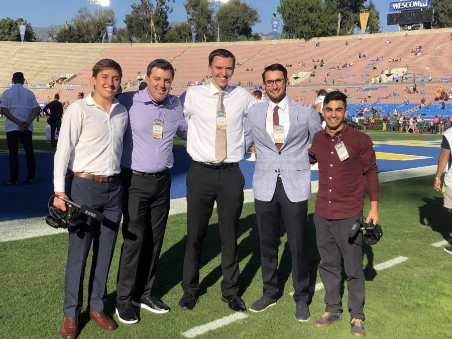 Trevor+Booth+%28in+the+middle%29+with+his+friends+at+the+Rose+Bowl+Stadium.+Photo+by+Trevor+Booth
