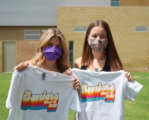 Mackenzie Rhodes and Kami Padilla with their Senior Class of 2021 shirts.