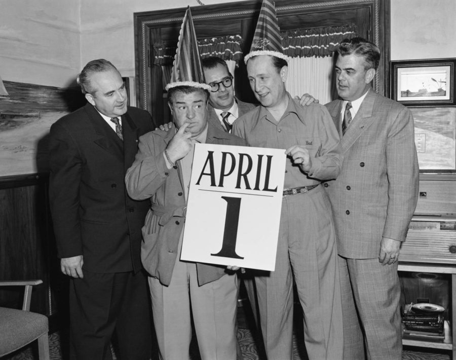 Lou Costello and Bud Abbott (Who's On First). Photo found at https://time.com/4279252/april-fools-day-brands-please-stop/