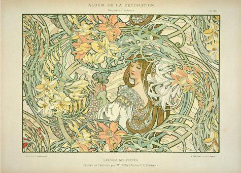 """Langage des Fleurs"" by Alphonse Mucha (1900). Taken from Wikipedia."