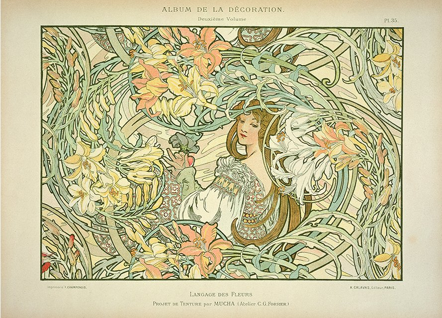 Langage des Fleurs by Alphonse Mucha (1900). Taken from Wikipedia.
